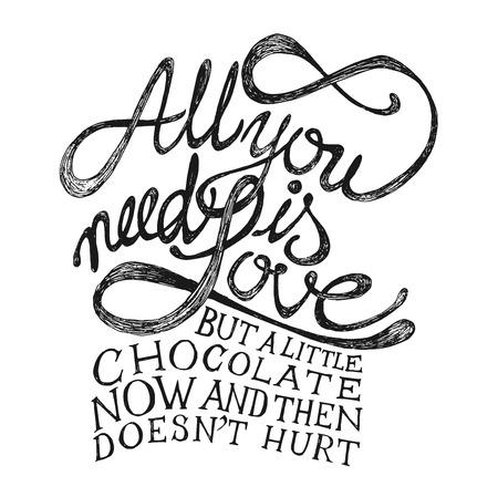 liefde: All You Need is Love - Hand getrokken citaten, zwart op wit Stock Illustratie
