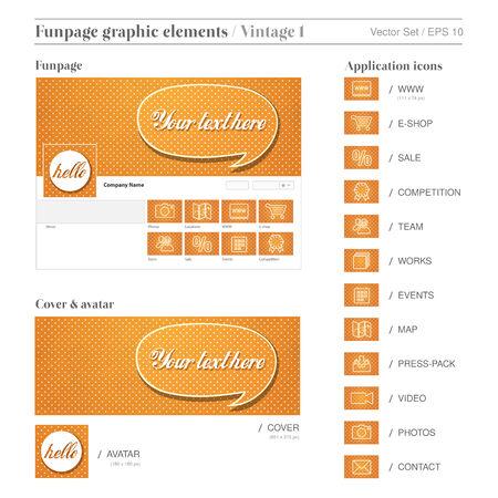 ソーシャル メディア FUNPAGE 要素オレンジ セットはヴィンテージ背景を溺愛しました。