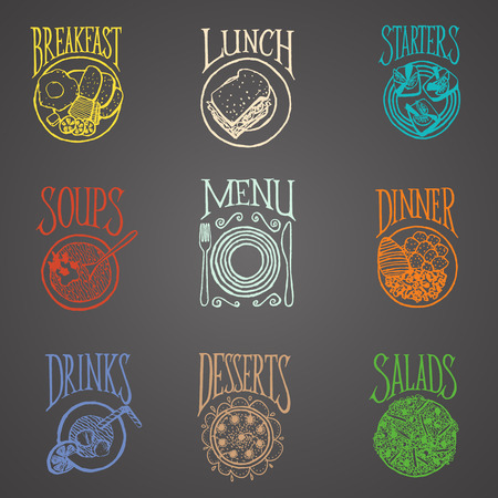 soup and salad:  MENU ICON - Latino style Meals icon on blackboard