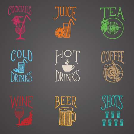 MENU ICON - Latino style Drinks colorful on blackboard
