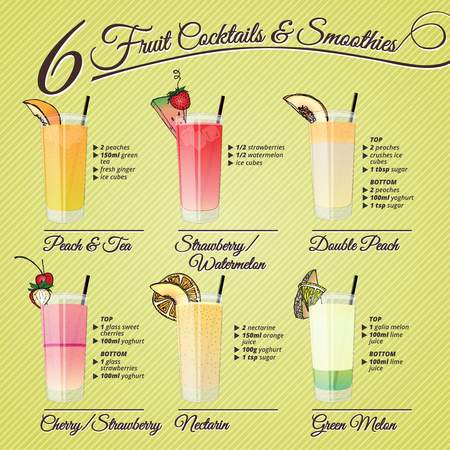Healthy cocktails and smoothies recipes and illustrations with fruit decorations