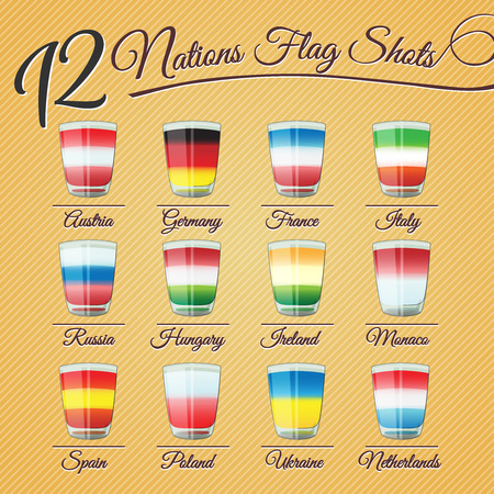 shots: Set of twelve nations flag Shots - for celebration occasions like world cup football