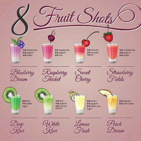 fruit smoothie: Eight fruits alcohol shots recipes and vector illustrations with fruit decorations