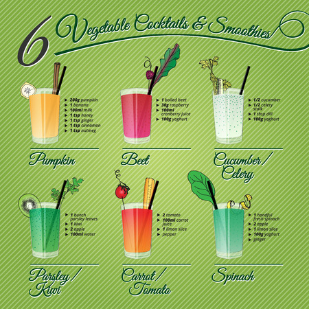 tomato juice: SIX FRESH VEGETABLE COCTAILS   SMOTHIES recipes and illustrations with fruit  and vegetable decorations
