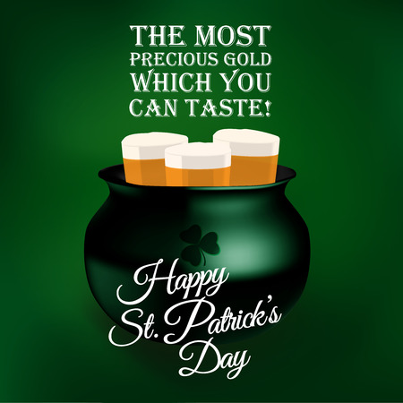 TAESTY PRECIOUS GOLD - beer in kettle - toast quotes illustrations for St  Patrick Vector
