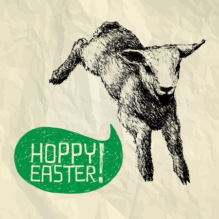 paschal lamb: Hoppy Easter  - easter illustration card with hand drawn jumping lamb and bubble speech on crumpled paper background