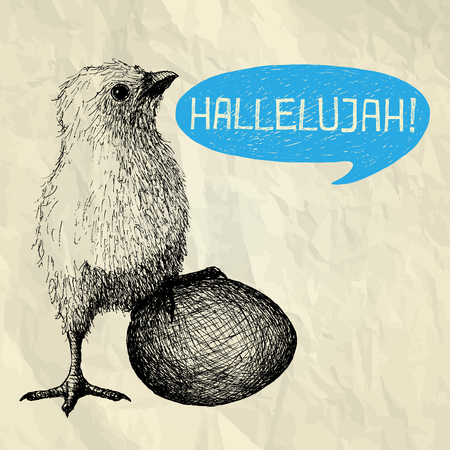 hallelujah: HALLELUJAH - Easter illustration card with hand drawn chick with egg and bubble speech on crumpled paper background