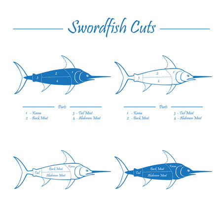 SWORDFISH COTS - blue on white Vector