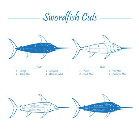swordfish: SWORDFISH COTS - blue on white Illustration