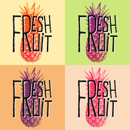 quotes: Fresh fruit pineapple - quotes vector illustration