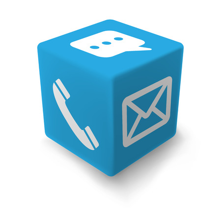 sociable: Blue information cube on layered vector file easy to modyfy color or icons - customizable Illustration