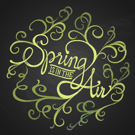 SPRING AIR - Florist circle quote - hand drawn swirls on chalkboard with calligraphy phrase Vector