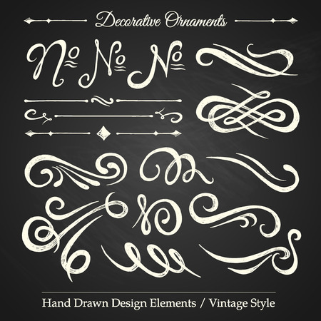 DECORATIVE ORNAMENTS - hand drawn design elements vintage style on chalkboard