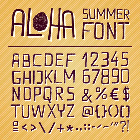 letter e: ALOHA SIMPLY HAND DRAWN FONT for seasonal posters or other works on vintage yellow background
