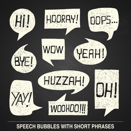 phrases: Hand drawn speech bubble set with short phrases on chalkboard background -  illustration