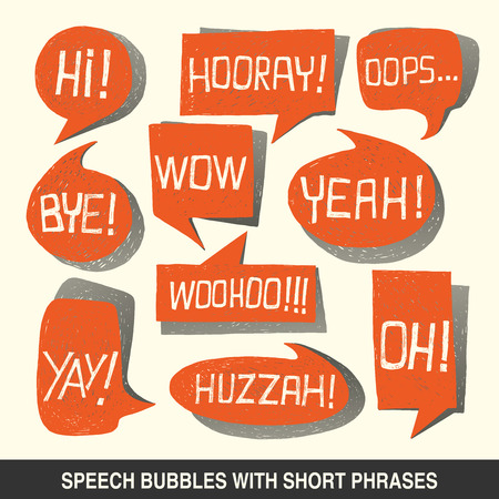 Colorful hand-drawn speech bubble set with short phrases  oh, hi, yeah, wow, yay, bye, hooray, woohoo, huzzah, oops  on white background - illustration Ilustracja