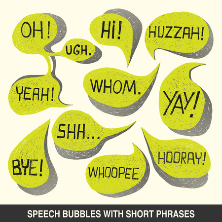 Colorful hand-drawn speech bubble set with short phrases  oh, hi, yeah, shh, yay, bye, hooray, whoopee, huzzah, whom, ugh  on white background - illustration Vector