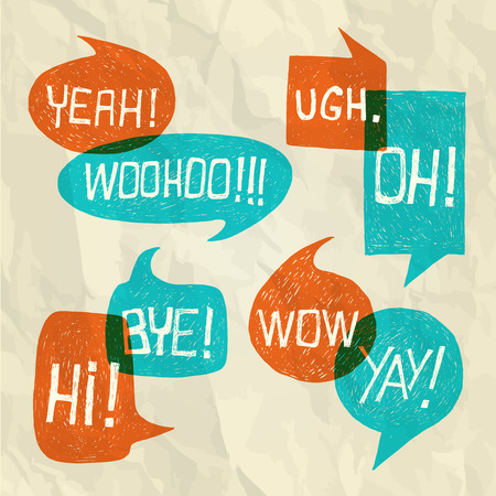 Hand drawn speech bubble set with short phrases  oh, hi, yeah, yay, bye, woohoo, wow, ugh  on paper texture background -  illustration Vector