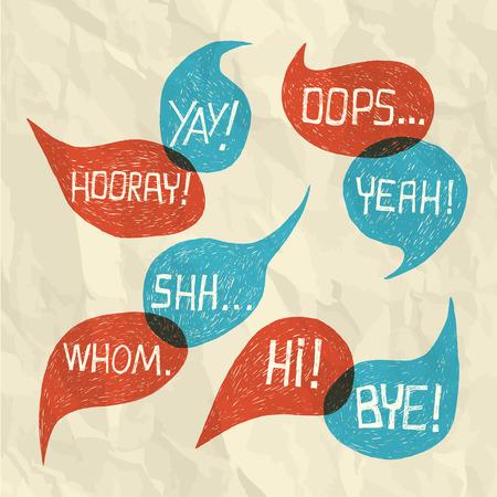 converse: Illustration - Hand gezeichnet Sprechblase mit kurzen Phrasen oh, hallo, ja, yay, bye, hurra, wem, oops, shh auf Papier Textur Hintergrund