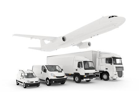 3D-rendering van een vliegende vliegtuig, een vrachtwagen, een vrachtwagen en een lading container witte achtergrond sjabloon Stockfoto