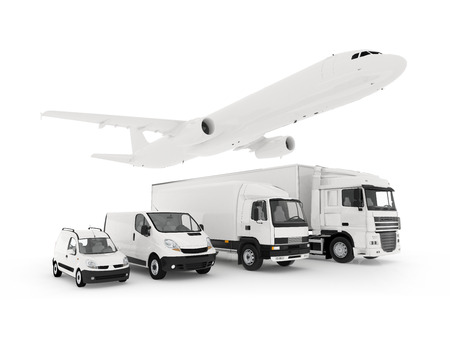 3D rendering of a flying plane, a truck, a lorry and a cargo container white background template