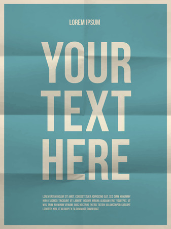 Poster template on colorful folded in eight paper texture with frame