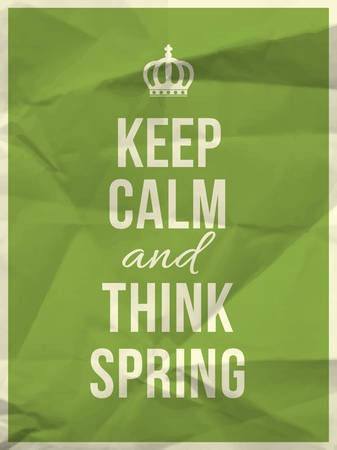 Keep calm and thing spring quote on colorful crumpled paper texture with frame Stock Illustratie