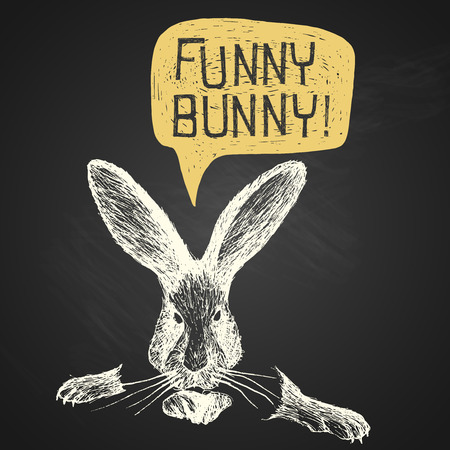 Easter hand-drawn funny bunny with humorous phrase on chalkboard background Vector