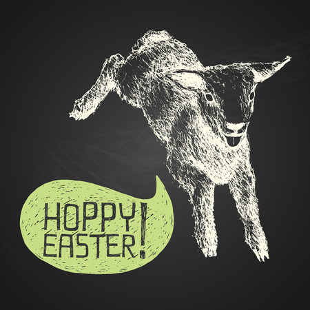 paschal lamb: Easter hand-drawn jumping lamb with humorous phrase on chalkboard background