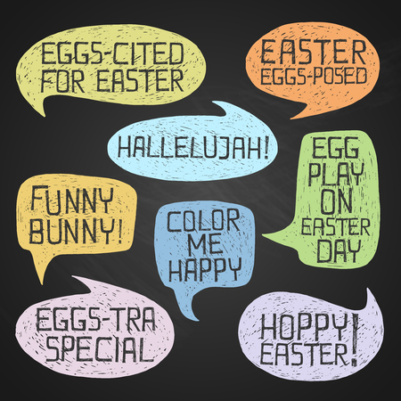 Easter hand-drawn colorful humorous phrases on chalkboard background Çizim