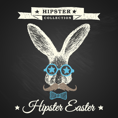 Hipster Easter - easter poster with hipster bunny on chalkboard background  Vector