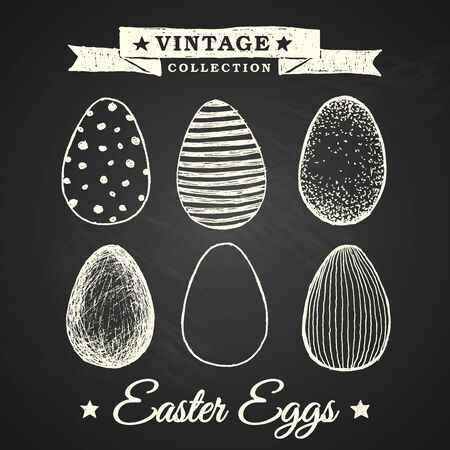 Hand-drawn easter eggs - collection of 6 eggs with various patterns on chalkboard background Vector