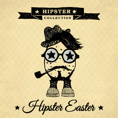 Hipster Easter poster with egg on the vintage background with repeating geometric tiles of rhombuses  Vector