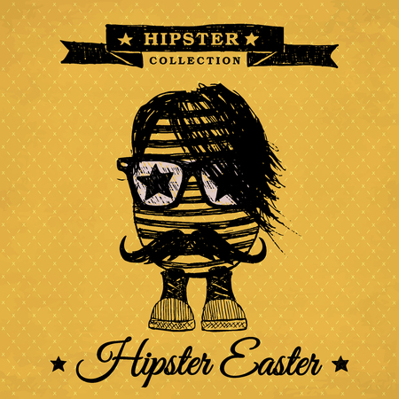 Hipster Easter - poster with hipster egg on the vintage background with repeating geometric tiles of rhombuses