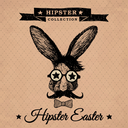 Hipster Easter - easter poster with hipster bunny on the vintage background with repeating geometric tiles of rhombuses