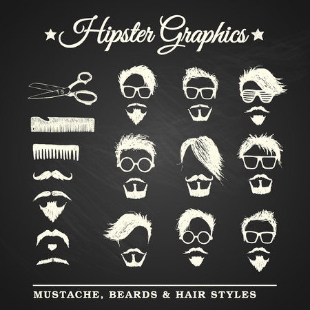 Hipster graphic set with mustache, beards and hair styles on chalkboard background Illustration