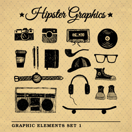 Hipster graphic set on the vintage background with repeating geometric tiles of rhombuses. Vector