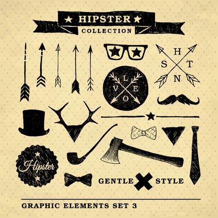 Hipster graphic set on the vintage background with repeating geometric tiles of rhombuses