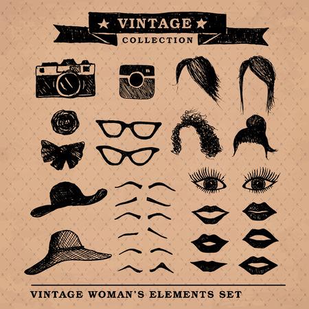 Vintage retro woman Vector