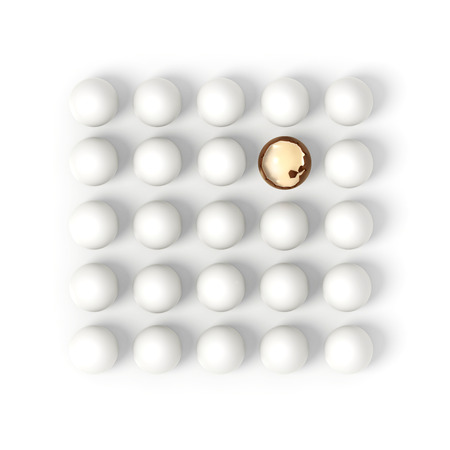 twenty five white eggs in rows with one broken chocolate egg witch vanilla crema filling on white background - 3d render illustration illustration