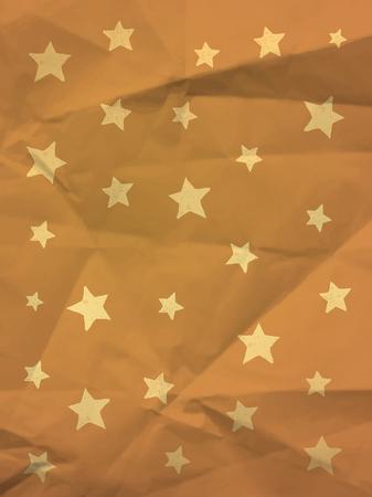 textura papel: Papel de embalaje con las estrellas del doodle de textura de papel arrugado - fondo de la vendimia Vectores