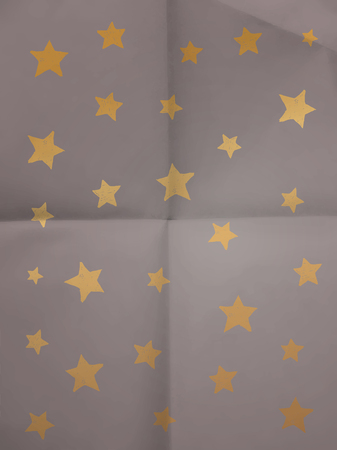Wrapping paper with doodle stars on folded in four paper texture - vintage background Vector