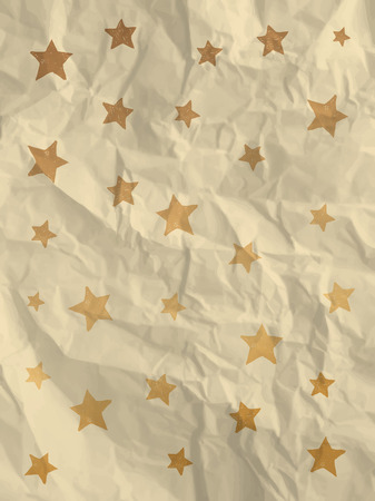 Wrapping paper with doodle stars on crumpled paper texture - vintage background Vector