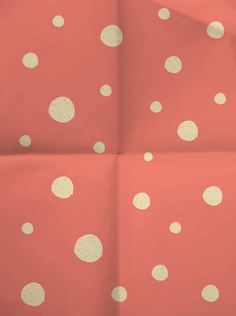 textura papel: Papel de regalo de color rosa con puntos blancos grandes en dobladas en cuatro textura de papel - fondo de la vendimia