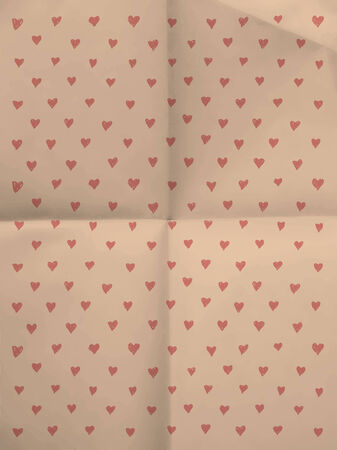 season s greeting: Wrapping paper with hearts on folded in four paper texture - vintage background