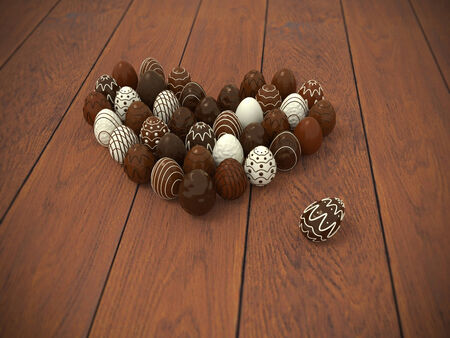 Photorealistic chocolate Easter eggs heart on brown wooden floor - hi-res 3d rendered picture with vignette
