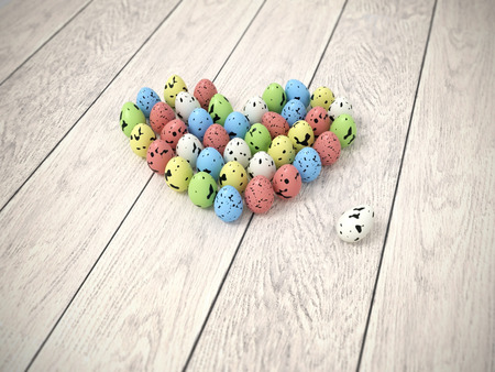 bitmap: Photorealistic heart shape made of pastel colour quails Easter eggs on white wooden floor - hi-res 3d rendered picture with light vignette  Stock Photo