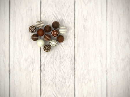 chocoholic: Photorealistic praline Easter eggs heart on white wooden floor from top view - hi-res 3d rendered picture with vignette