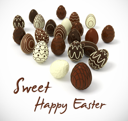bitmap: Sweet Happy Easter - Photorealistic Chocolate Easter eggs on white background - hi-res 3d rendered picture with cutting path