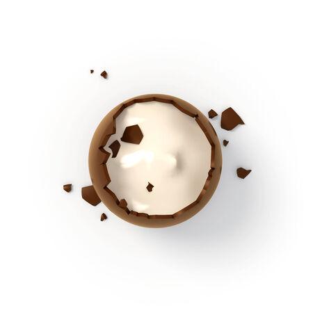 Illustration of crashed chocolate egg cream filling - top view render on white background illustration